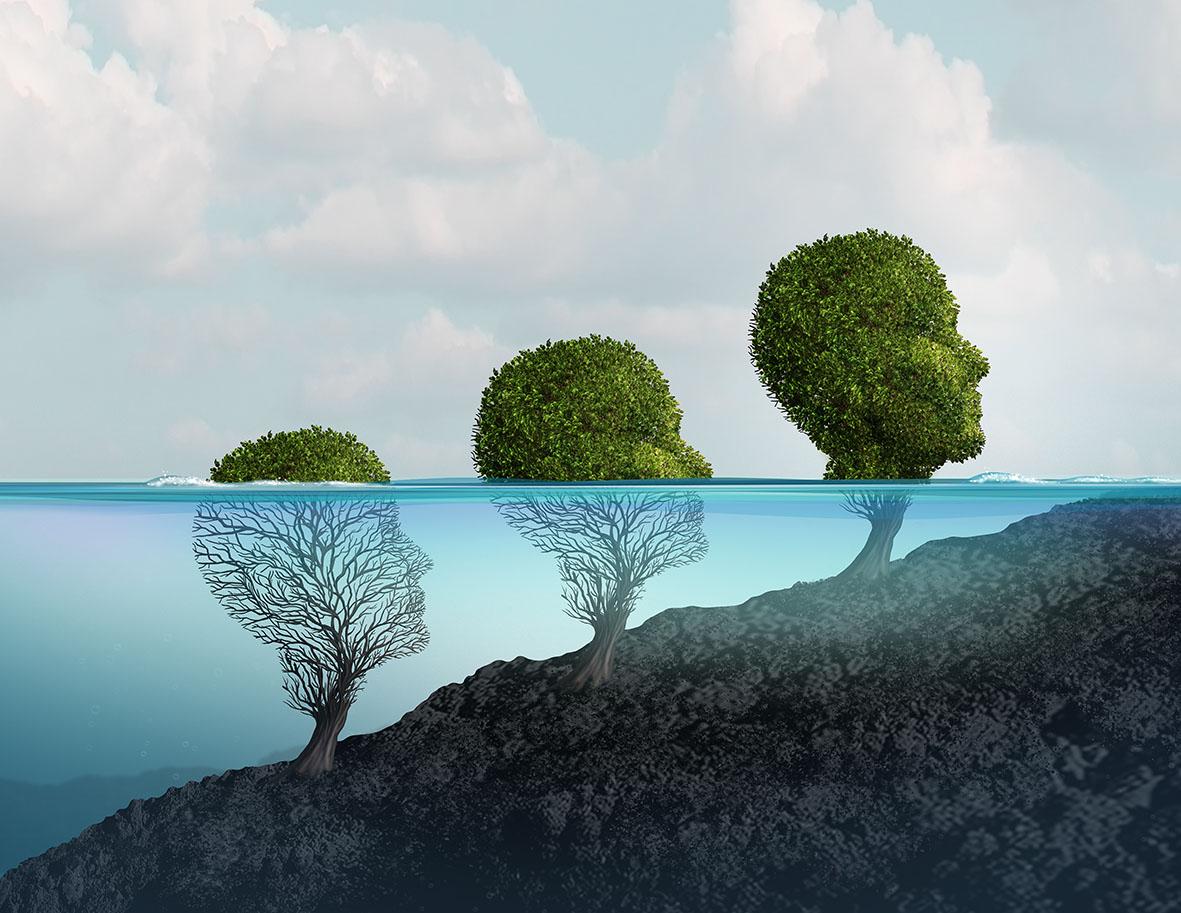 Dieses Bild zeigt einen Baum mit dem Profil eines menschlichen Gesichts, der immer mehr Blätter hat, je mehr er aus dem Wasser herausragt.